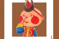 可爱的蒙古宝贝:诺敏和清赫尔·Surbadarah(原创插画)