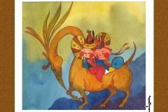 可爱的蒙古宝贝2:诺敏和清赫尔· Surbadarah(原创插画)