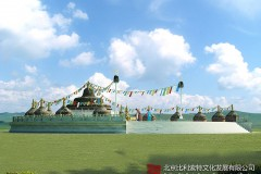 草原景区蒙古敖包设计