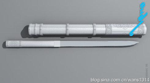 蒙古刀 3D模型练习  第2张
