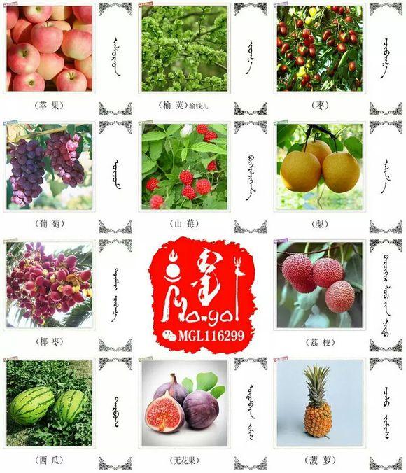 水果.蔬菜.粮食.食材的名称81种(蒙古文+汉语) 第2张