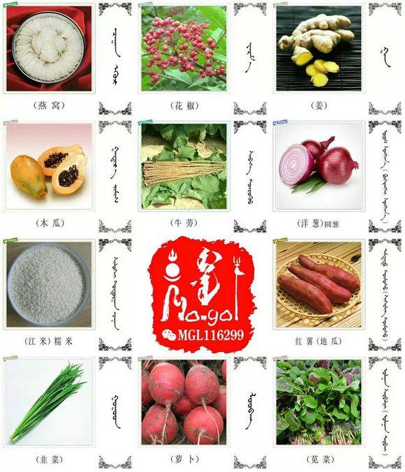 水果.蔬菜.粮食.食材的名称81种(蒙古文+汉语) 第6张