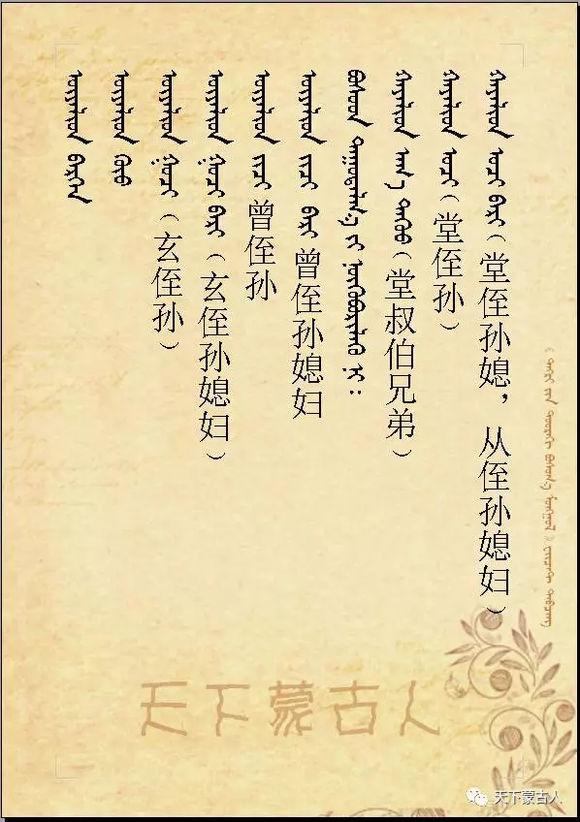 蒙古族亲属辈分称呼大全 第6张