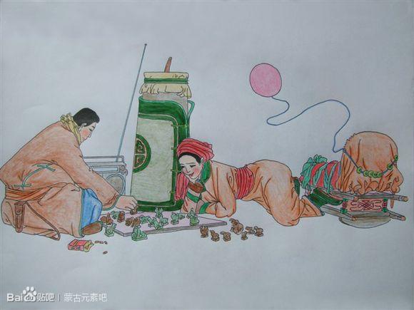 用彩铅临摹的蒙古生活画(适合初学临摹) 第5张