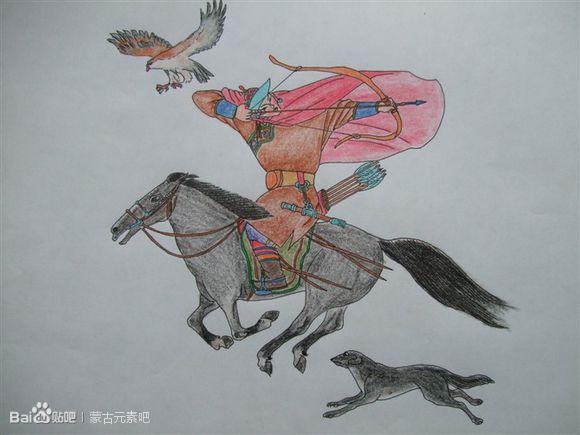 用彩铅临摹的蒙古生活画(适合初学临摹) 第2张