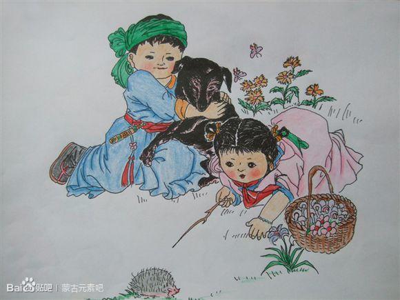 用彩铅临摹的蒙古生活画(适合初学临摹) 第6张