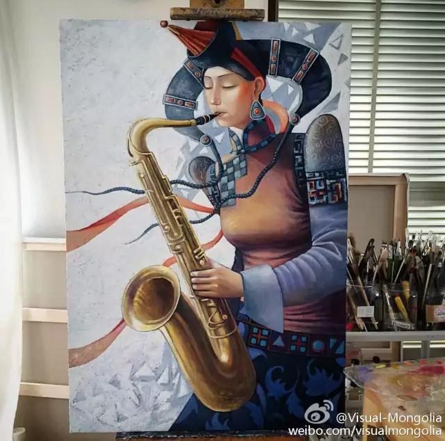 蒙古画家笔下蒙古传统符号与现代元素的化学反应 第1张
