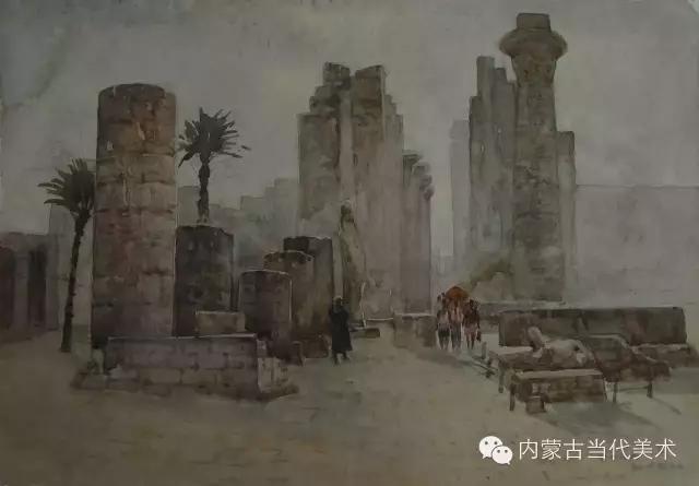 蒙古族画家——那顺孟和境外水彩写生作品 第1张