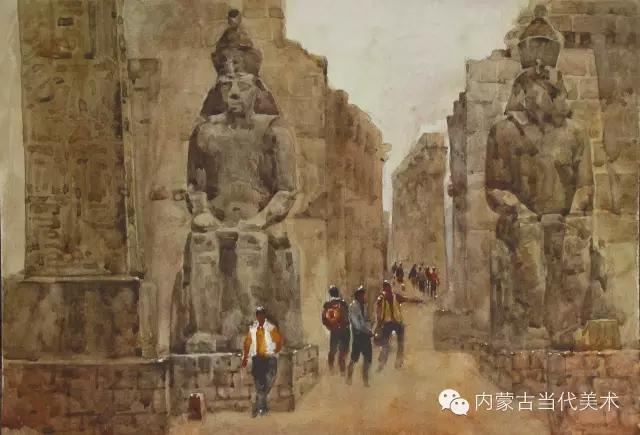蒙古族画家——那顺孟和境外水彩写生作品 第6张