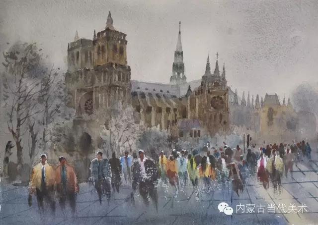 蒙古族画家——那顺孟和境外水彩写生作品 第15张