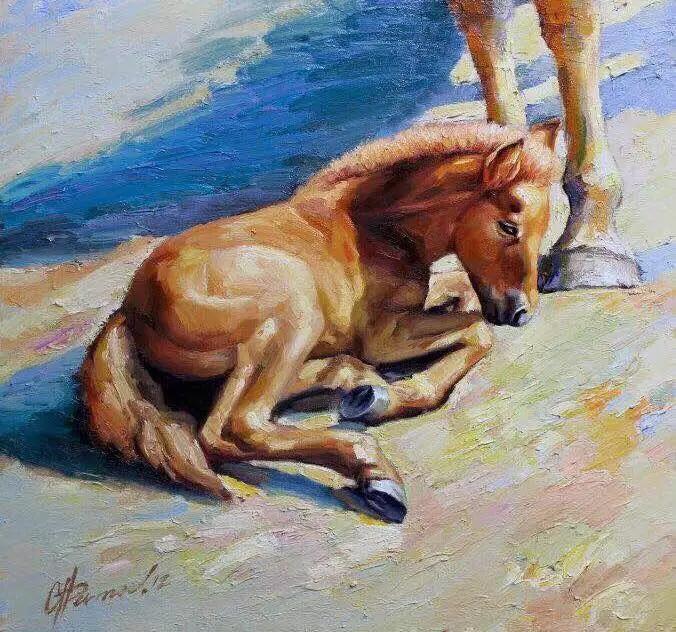 画家笔下的蒙古骏马,栩栩如生 仿佛要从画里跑出来 ... 第7张