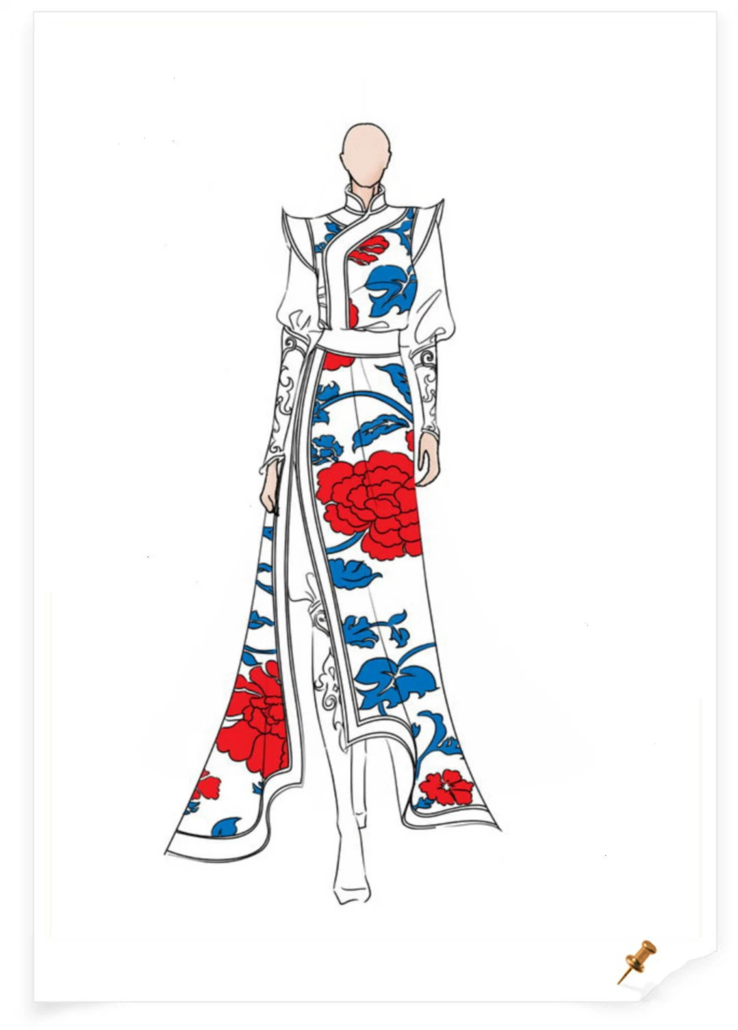 【服装美术】蒙古元素服饰设计效果图 第2张