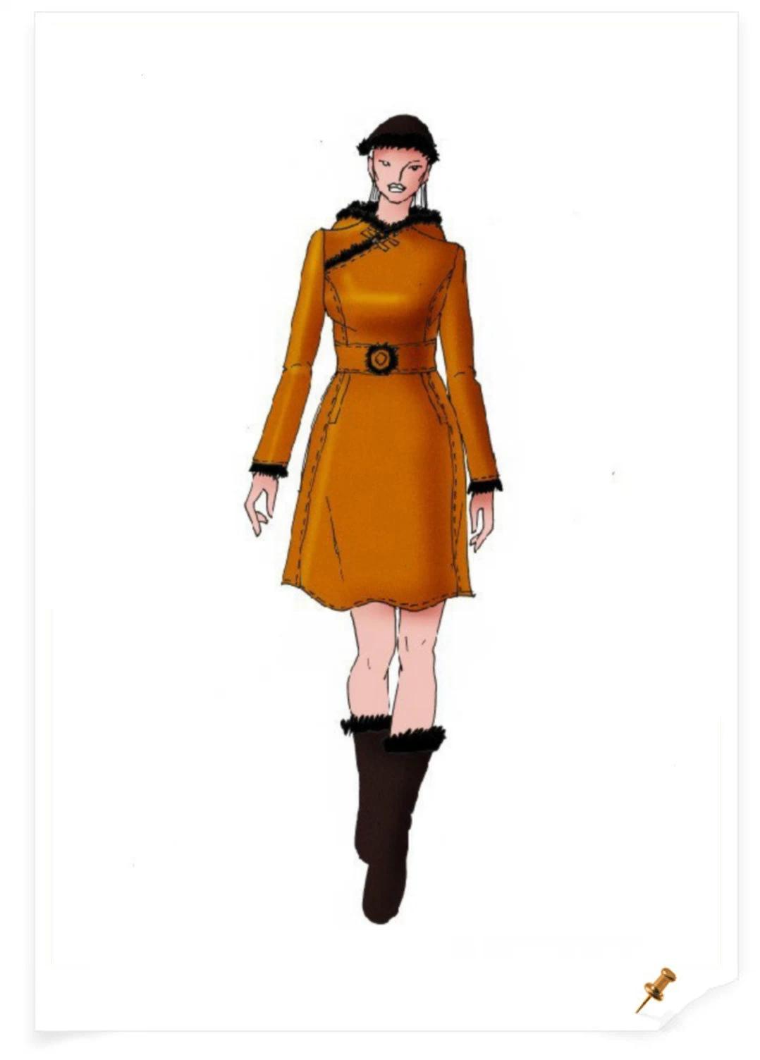 【服装美术】蒙古元素服饰设计效果图 第8张