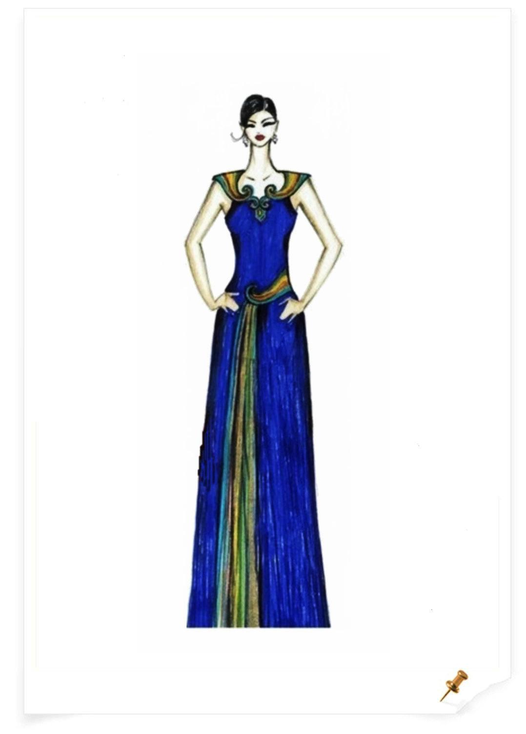 【服装美术】蒙古元素服饰设计效果图 第7张