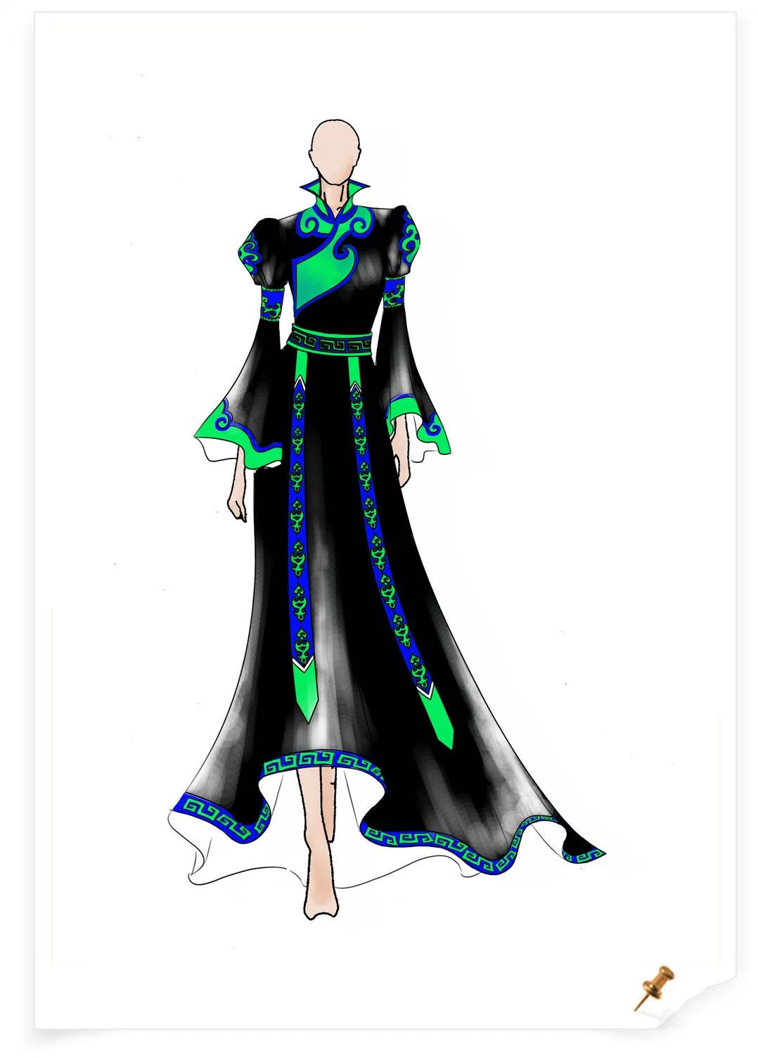 【服装美术】蒙古元素服饰设计效果图