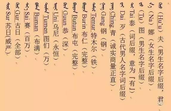 好听的蒙古孩子名字 必须收藏(蒙古文) 第5张