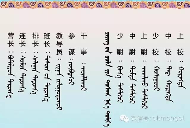 军衔的蒙古文 汉语对照 第3张