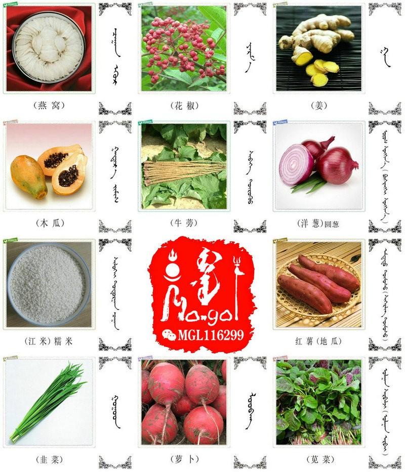 名词合集:水果.蔬菜.粮食.食材的名称81种(蒙古文 汉语) 第6张