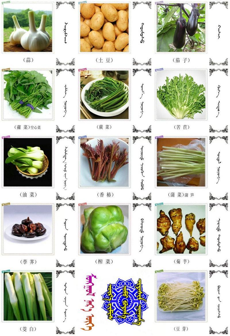 名词合集:水果.蔬菜.粮食.食材的名称81种(蒙古文 汉语) 第8张