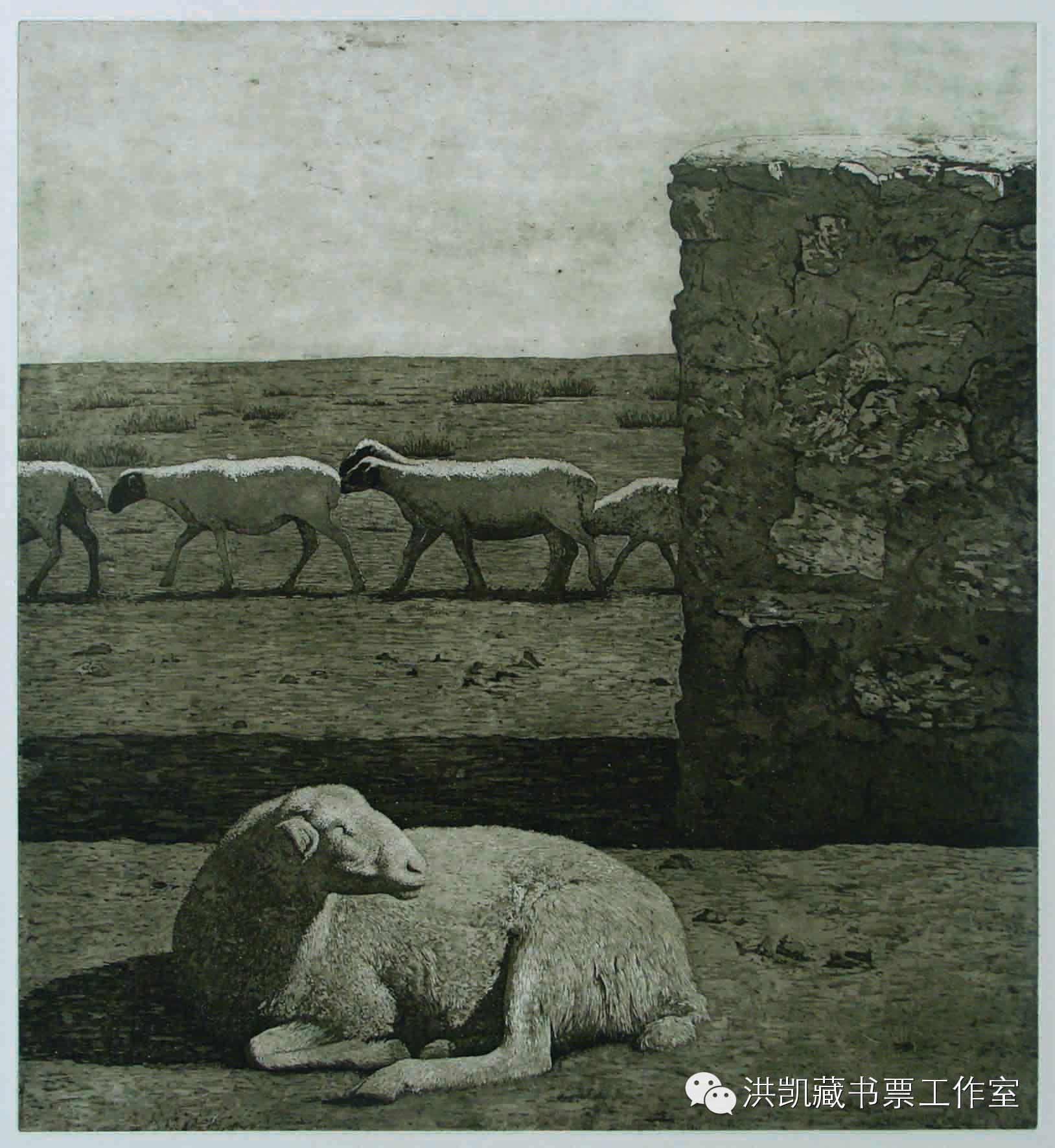 版画作品推荐002期-(内蒙古版画家)拉喜萨布哈﹒版画&藏书票作品欣赏 第3张