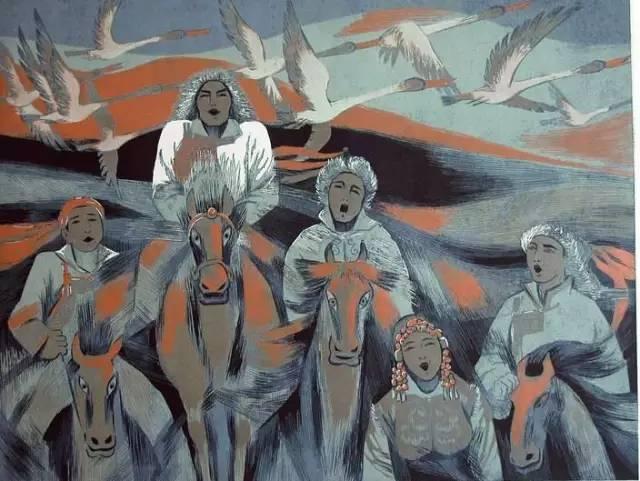 🔴内蒙古著名版画家乌恩琪-山丹的作品 第21张