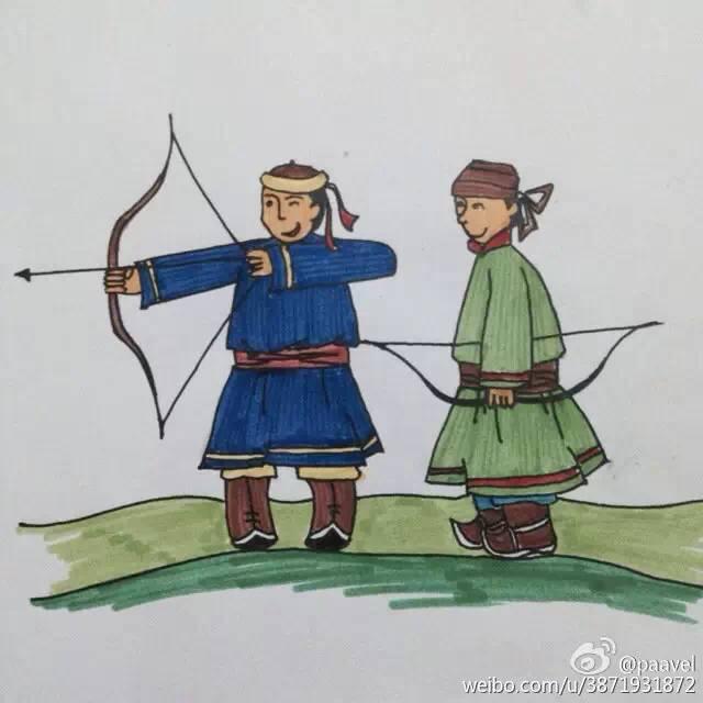 蒙古孩子简笔画 第3张