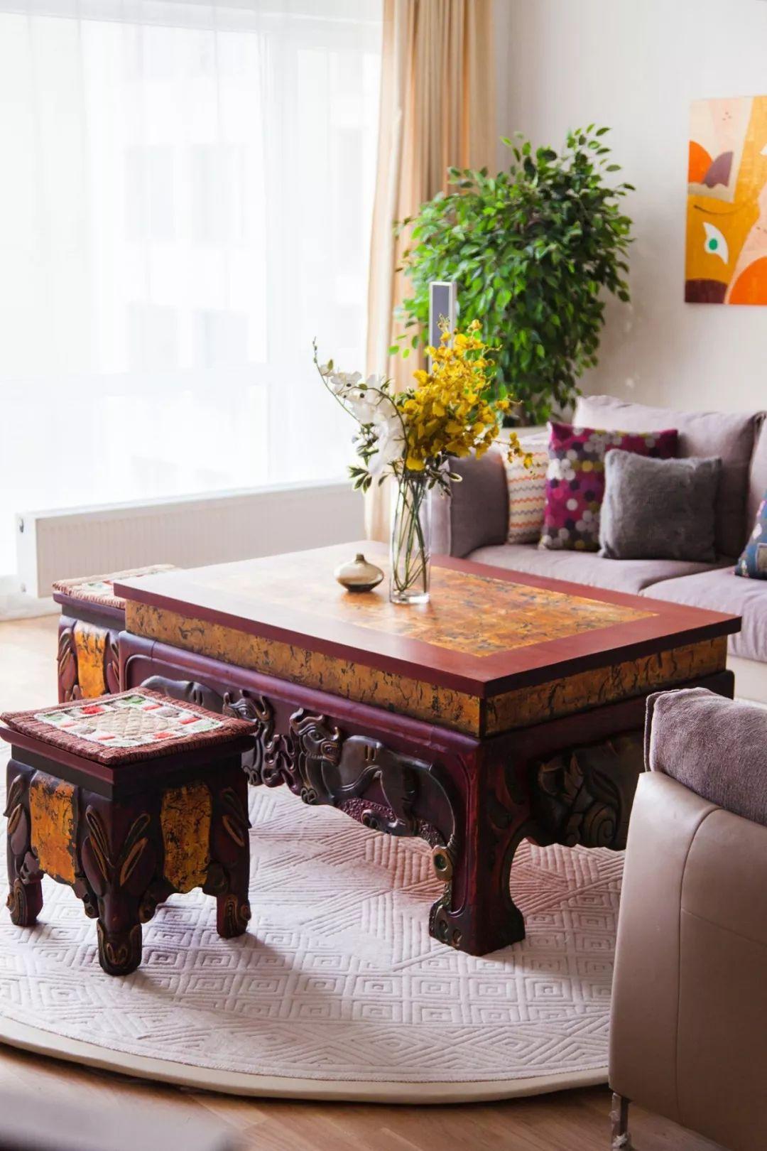 蒙古国设计的蒙古包家具和用品,太漂亮了~ 第9张