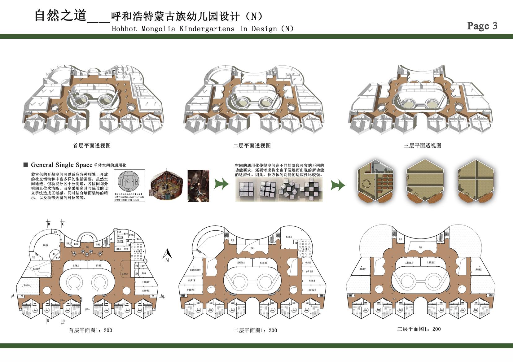蒙古族幼儿园建筑设计方案 第3张