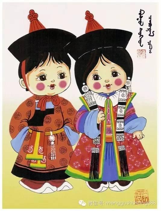 蒙古族卡通萌娃情侣图,太可爱了 第5张