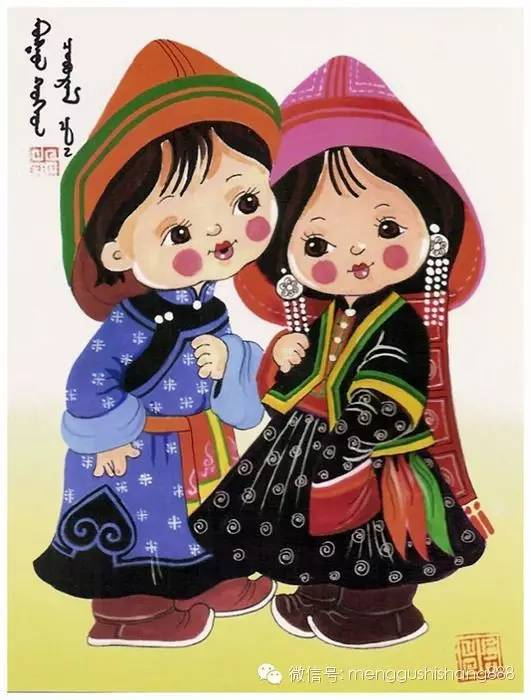 蒙古族卡通萌娃情侣图,太可爱了 第9张