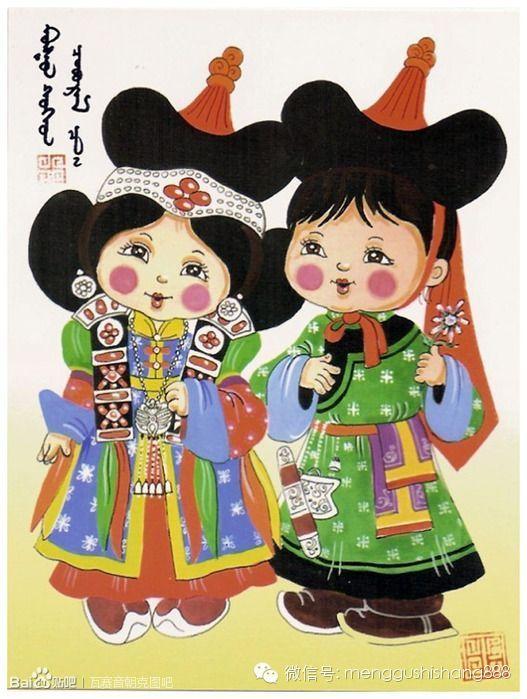 蒙古族卡通萌娃情侣图,太可爱了 第11张