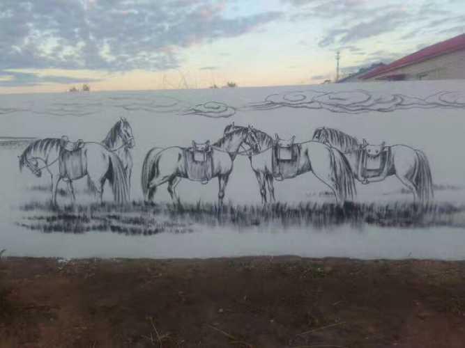 蒙古生活墙绘 ,墙画
