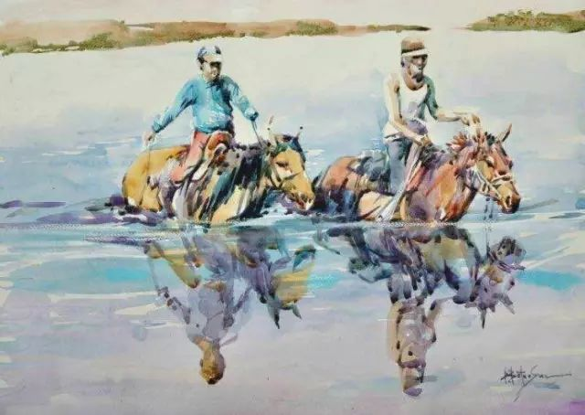 记录草原往事:画家巴图纳森写实水彩作品欣赏 第2张