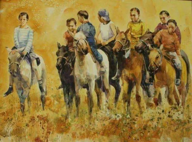 记录草原往事:画家巴图纳森写实水彩作品欣赏 第9张