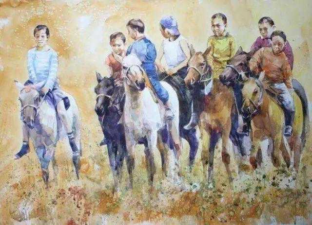 记录草原往事:画家巴图纳森写实水彩作品欣赏 第7张