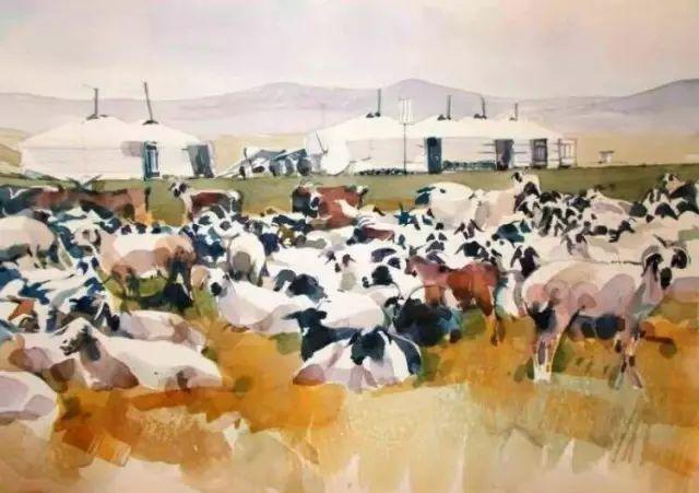 记录草原往事:画家巴图纳森写实水彩作品欣赏 第8张