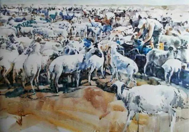 记录草原往事:画家巴图纳森写实水彩作品欣赏 第11张