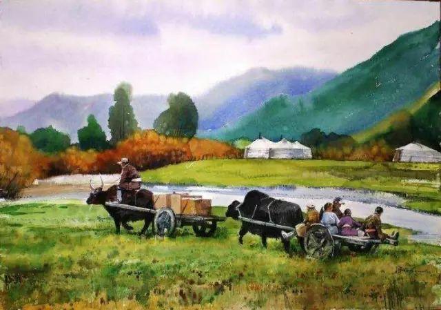 记录草原往事:画家巴图纳森写实水彩作品欣赏 第12张