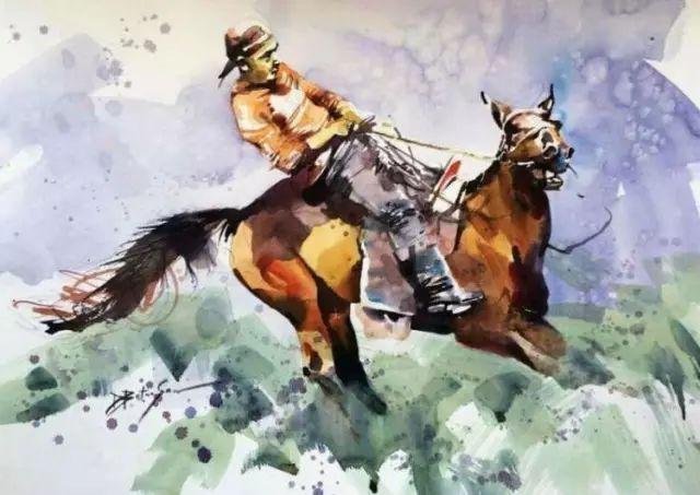 记录草原往事:画家巴图纳森写实水彩作品欣赏 第20张