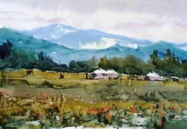 记录草原往事:画家巴图纳森写实水彩作品欣赏 第18张