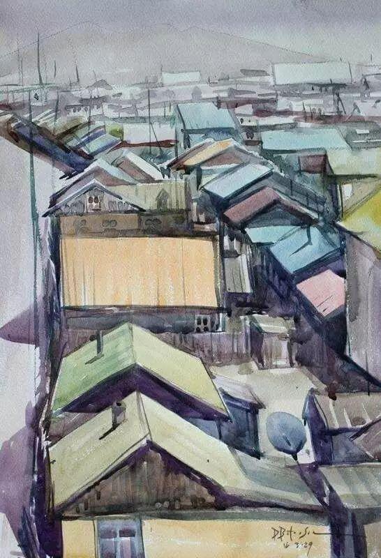 记录草原往事:画家巴图纳森写实水彩作品欣赏 第25张