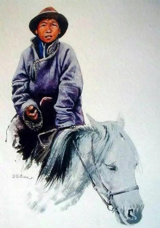 记录草原往事:画家巴图纳森写实水彩作品欣赏 第24张
