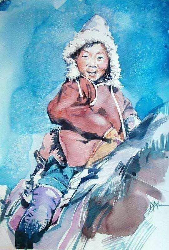 记录草原往事:画家巴图纳森写实水彩作品欣赏 第22张