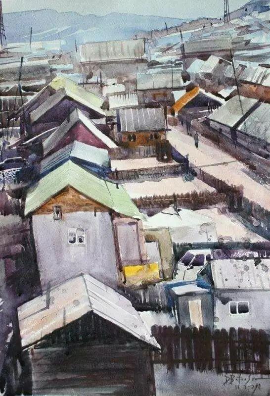 记录草原往事:画家巴图纳森写实水彩作品欣赏 第27张