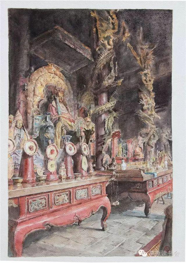 著名画家奥迪:水彩画记录下的呼和浩特旧景 第7张