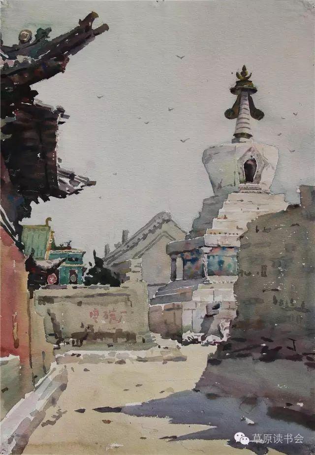著名画家奥迪:水彩画记录下的呼和浩特旧景 第9张
