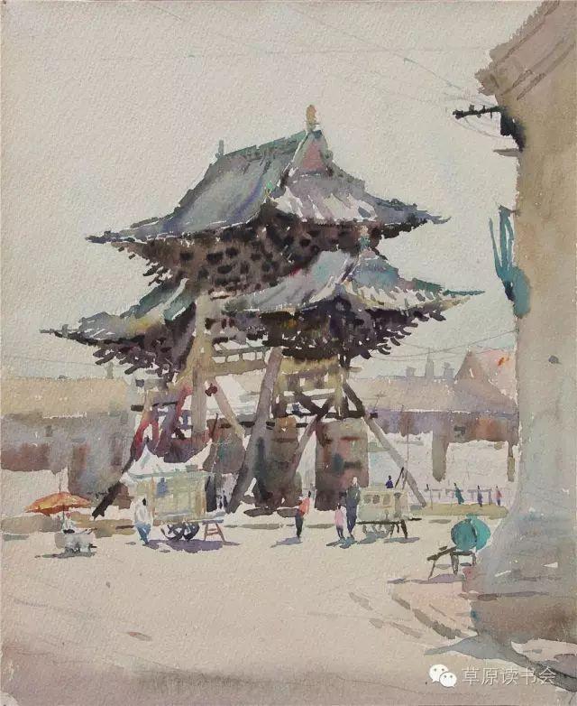 著名画家奥迪:水彩画记录下的呼和浩特旧景 第11张