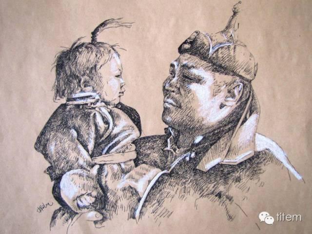 画家达. 巴图那顺水彩画作品分享 第1张