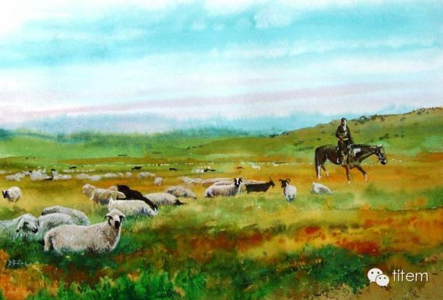 画家达. 巴图那顺水彩画作品分享 第4张