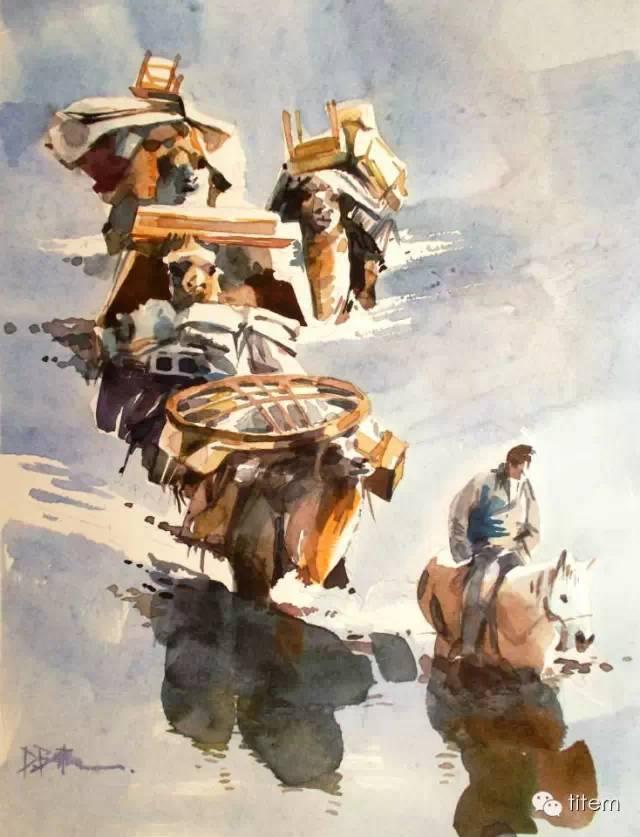 画家达. 巴图那顺水彩画作品分享 第5张